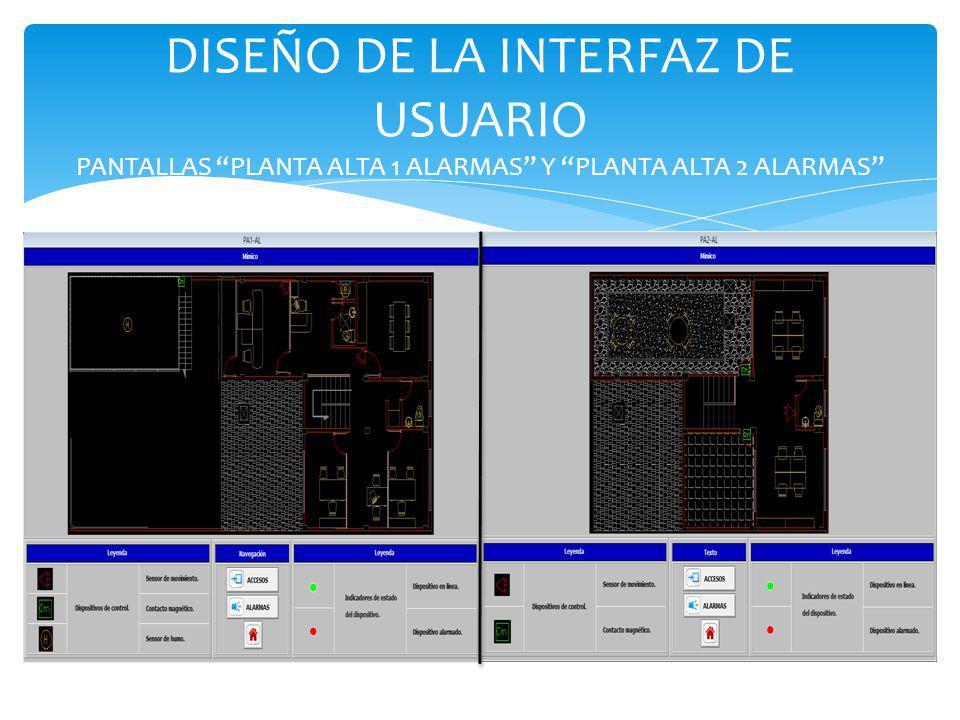 DISEÑO DE LA INTERFAZ DE USUARIO PANTALLAS PLANTA ALTA 1 ALARMAS Y PLANTA ALTA 2 ALARMAS