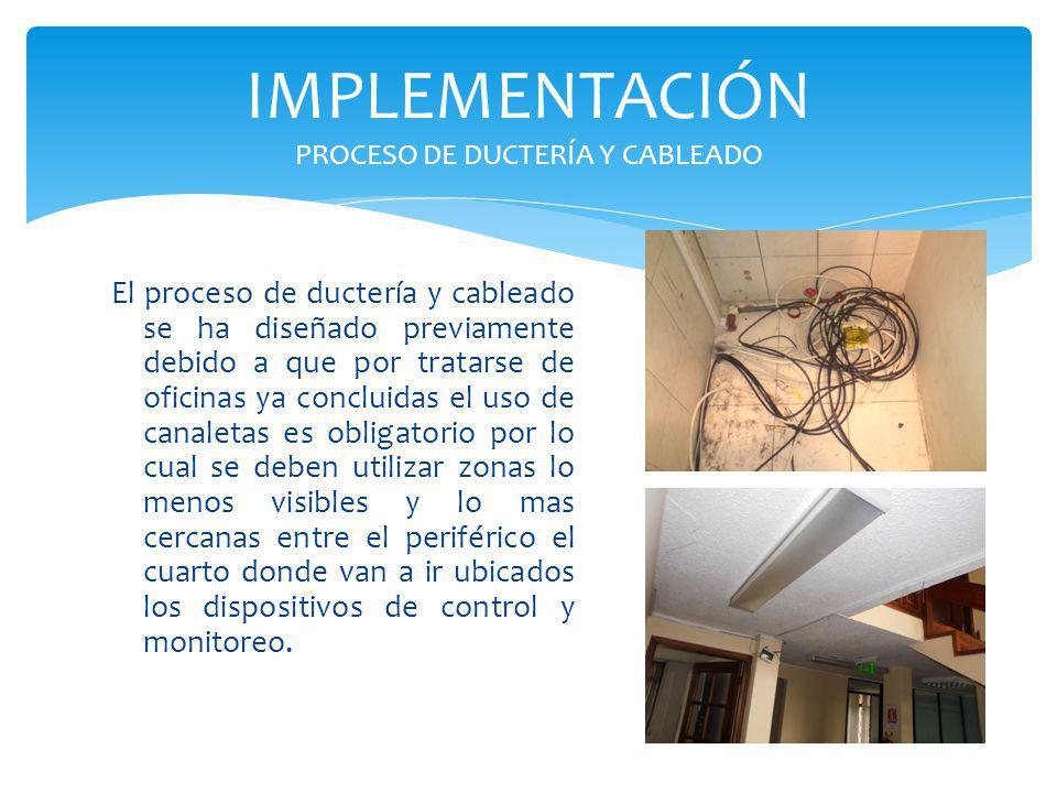 IMPLEMENTACIÓN PROCESO DE DUCTERÍA Y CABLEADO El proceso de ductería y cableado se ha diseñado previamente debido a que por tratarse de oficinas ya co