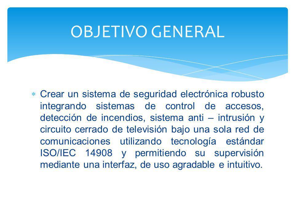OBJETIVO GENERAL Crear un sistema de seguridad electrónica robusto integrando sistemas de control de accesos, detección de incendios, sistema anti – i