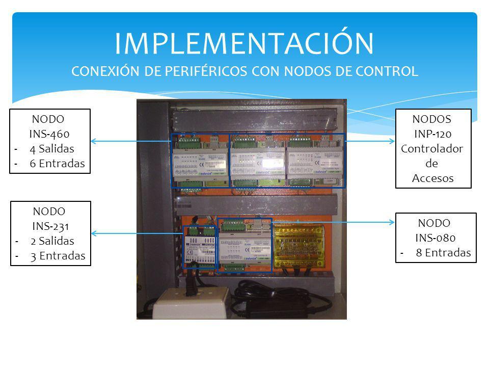 IMPLEMENTACIÓN CONEXIÓN DE PERIFÉRICOS CON NODOS DE CONTROL NODO INS-460 -4 Salidas -6 Entradas NODOS INP-120 Controlador de Accesos NODO INS-231 -2 S