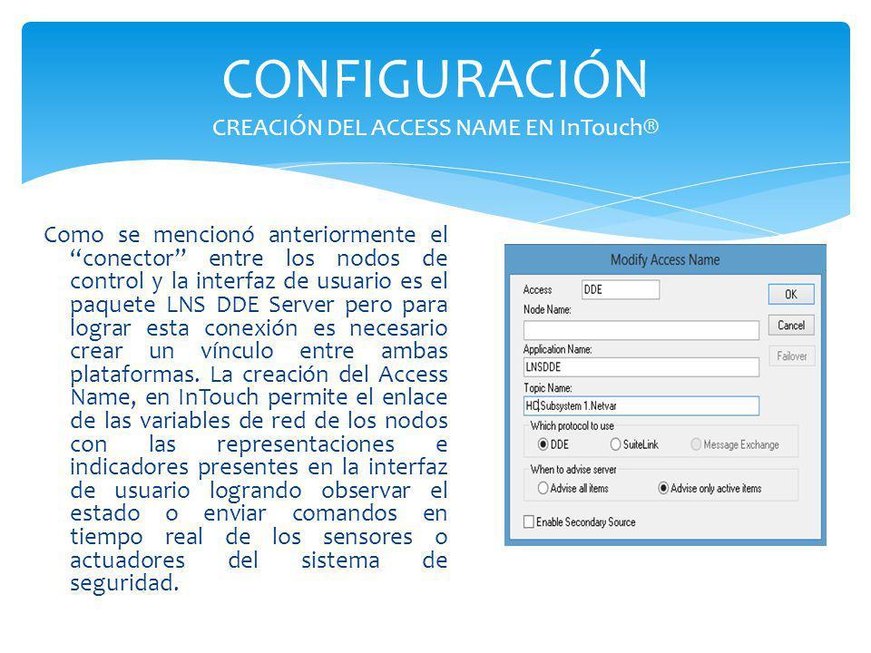 CONFIGURACIÓN CREACIÓN DEL ACCESS NAME EN InTouch® Como se mencionó anteriormente el conector entre los nodos de control y la interfaz de usuario es e