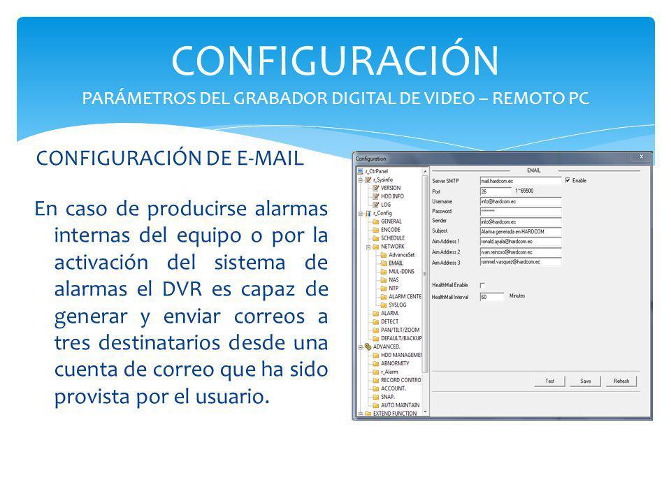 CONFIGURACIÓN PARÁMETROS DEL GRABADOR DIGITAL DE VIDEO – REMOTO PC En caso de producirse alarmas internas del equipo o por la activación del sistema d