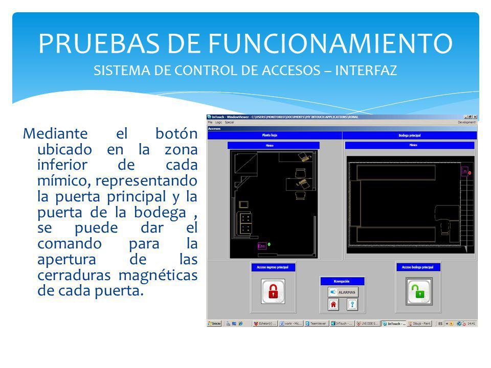 PRUEBAS DE FUNCIONAMIENTO SISTEMA DE CONTROL DE ACCESOS – INTERFAZ Mediante el botón ubicado en la zona inferior de cada mímico, representando la puer