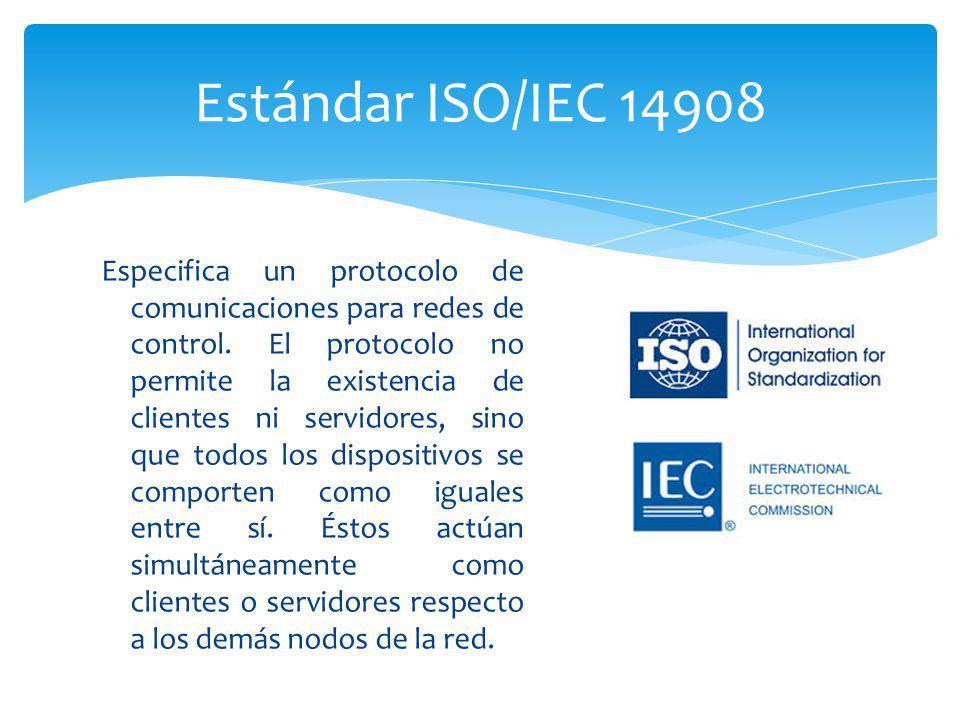 Especifica un protocolo de comunicaciones para redes de control. El protocolo no permite la existencia de clientes ni servidores, sino que todos los d