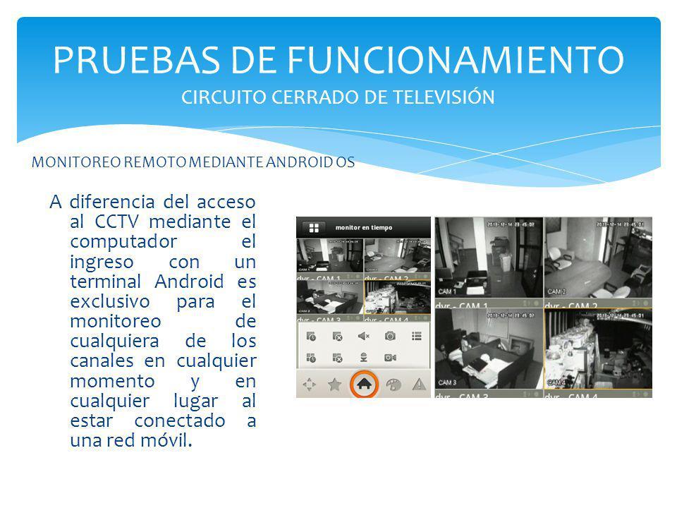 PRUEBAS DE FUNCIONAMIENTO CIRCUITO CERRADO DE TELEVISIÓN A diferencia del acceso al CCTV mediante el computador el ingreso con un terminal Android es