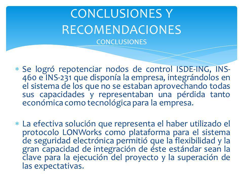 Se logró repotenciar nodos de control ISDE-ING, INS- 460 e INS-231 que disponía la empresa, integrándolos en el sistema de los que no se estaban aprov