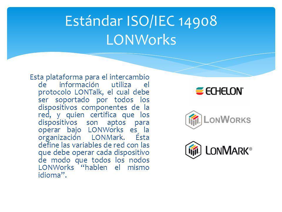 Esta plataforma para el intercambio de información utiliza el protocolo LONTalk, el cual debe ser soportado por todos los dispositivos componentes de