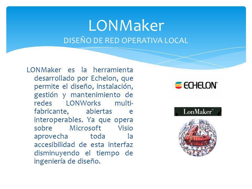 LONMaker es la herramienta desarrollado por Echelon, que permite el diseño, instalación, gestión y mantenimiento de redes LONWorks multi- fabricante,