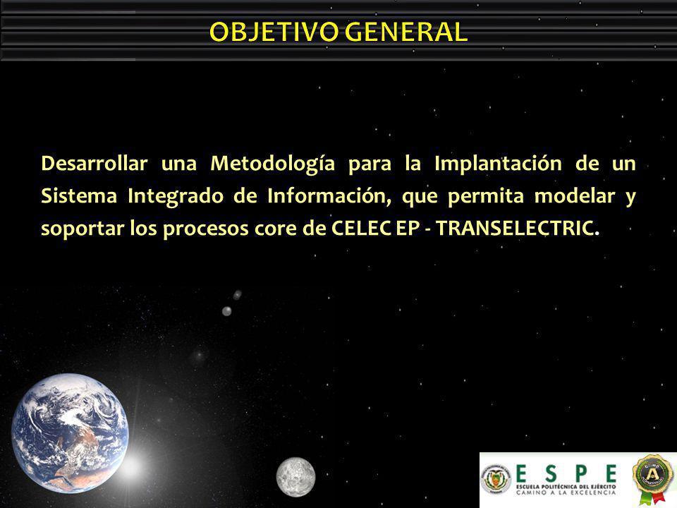 Desarrollar una Metodología para la Implantación de un Sistema Integrado de Información, que permita modelar y soportar los procesos core de CELEC EP - TRANSELECTRIC.