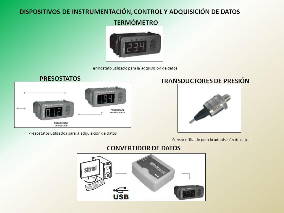DISPOSITIVOS DE INSTRUMENTACIÓN, CONTROL Y ADQUISICIÓN DE DATOS TERMÓMETRO Termostato utilizado para la adquisición de datos PRESOSTATOS TRANSDUCTORES