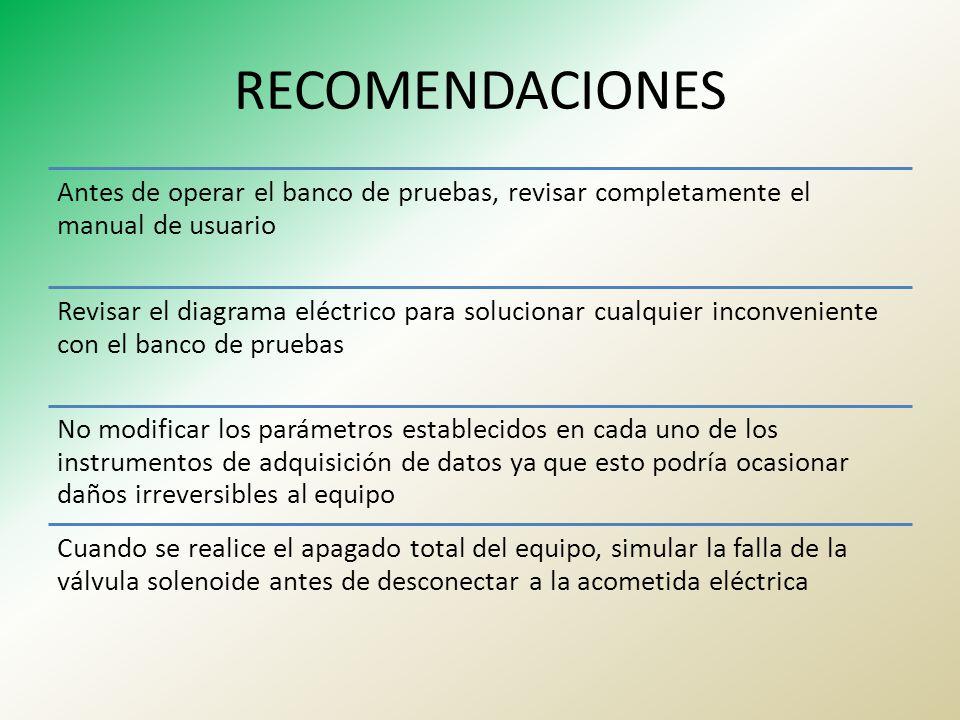 RECOMENDACIONES Antes de operar el banco de pruebas, revisar completamente el manual de usuario Revisar el diagrama eléctrico para solucionar cualquie