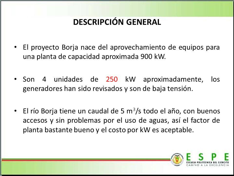 DESCRIPCIÓN GENERAL El proyecto Borja nace del aprovechamiento de equipos para una planta de capacidad aproximada 900 kW.