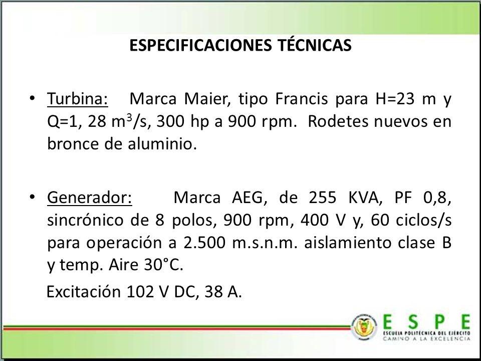 ESPECIFICACIONES TÉCNICAS Turbina: Marca Maier, tipo Francis para H=23 m y Q=1, 28 m 3 /s, 300 hp a 900 rpm.