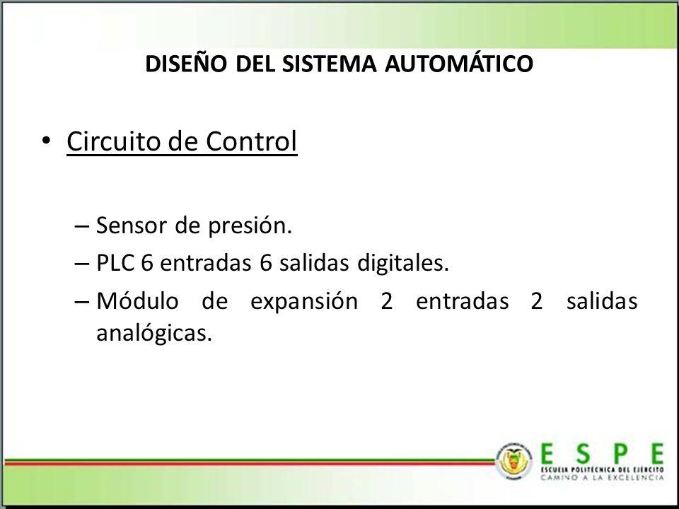 Circuito de Control – Sensor de presión.– PLC 6 entradas 6 salidas digitales.