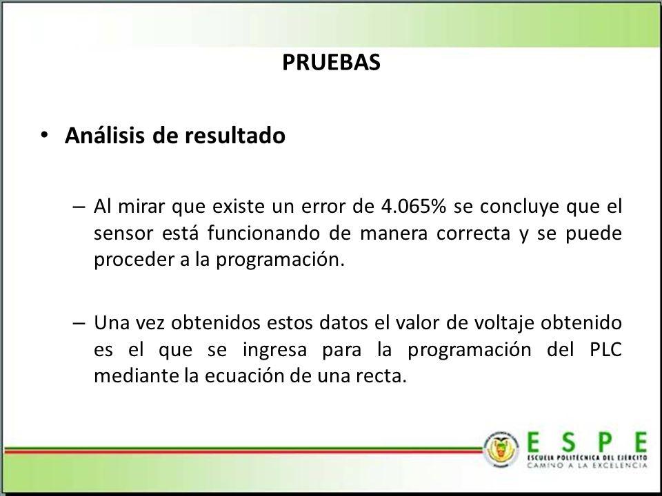 Análisis de resultado – Al mirar que existe un error de 4.065% se concluye que el sensor está funcionando de manera correcta y se puede proceder a la programación.