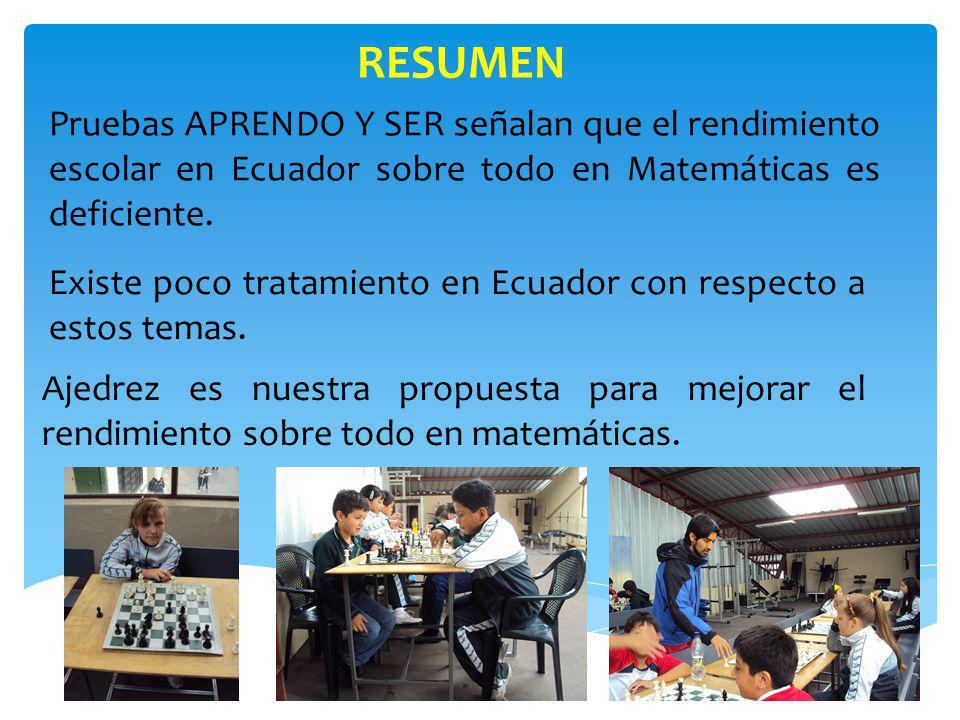 Los resultados obtenidos demostraron que el ajedrez tienen influencia en el nivel de autoestima y en el rendimiento escolar sobre todo en Matemáticas de estudiantes del 6 de básica.