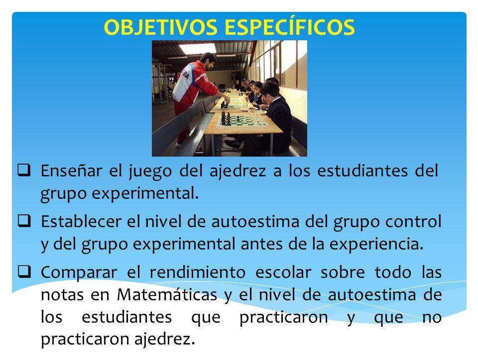 OBJETIVOS ESPECÍFICOS Contribuir con una herramienta eficaz para el desarrollo mental y humano de los y las niñas del grupo experimental.