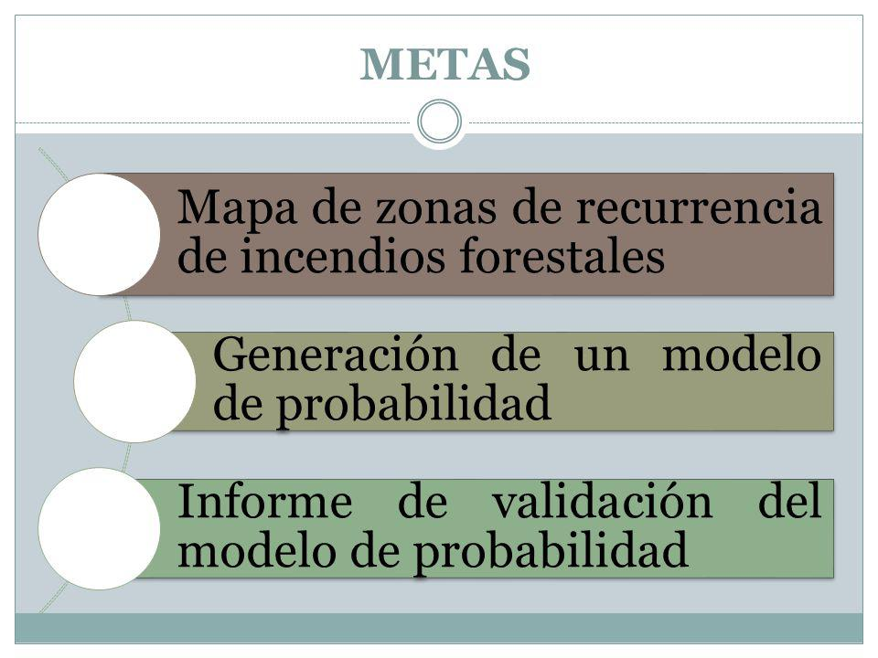 METAS Mapa de zonas de recurrencia de incendios forestales Generación de un modelo de probabilidad Informe de validación del modelo de probabilidad