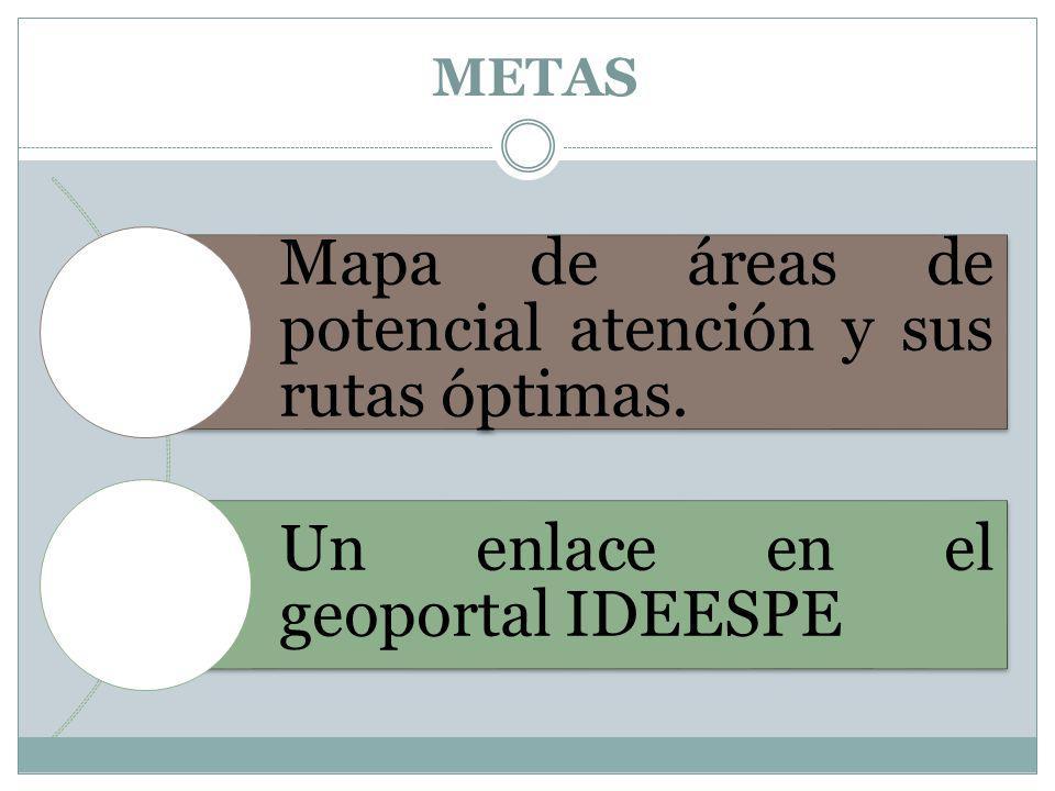 METAS Mapa de áreas de potencial atención y sus rutas óptimas. Un enlace en el geoportal IDEESPE