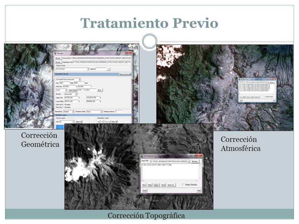 Tratamiento Previo Corrección Geométrica Corrección Atmosférica Corrección Topográfica