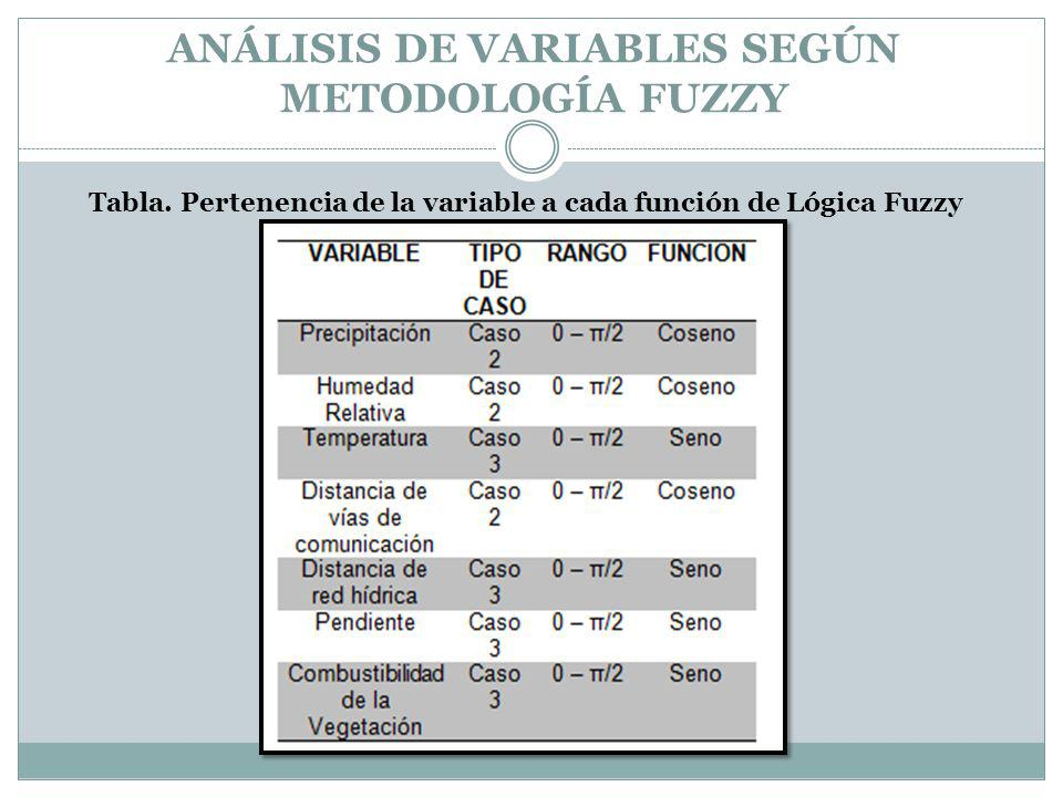 ANÁLISIS DE VARIABLES SEGÚN METODOLOGÍA FUZZY Tabla. Pertenencia de la variable a cada función de Lógica Fuzzy