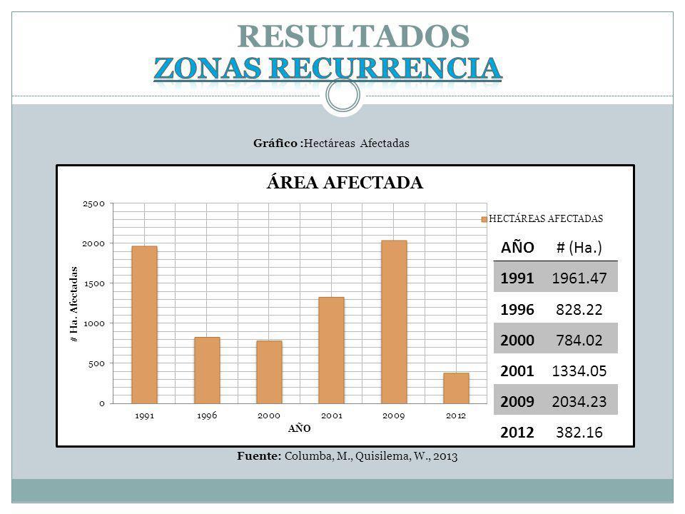 RESULTADOS Fuente: Columba, M., Quisilema, W., 2013 AÑO# (Ha.) 19911961.47 1996828.22 2000784.02 20011334.05 20092034.23 2012382.16 Gráfico :Hectáreas Afectadas