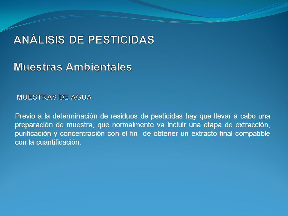 Previo a la determinación de residuos de pesticidas hay que llevar a cabo una preparación de muestra, que normalmente va incluir una etapa de extracci