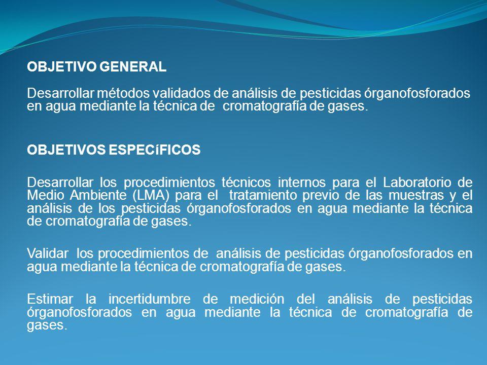 OBJETIVO GENERAL Desarrollar métodos validados de análisis de pesticidas órganofosforados en agua mediante la técnica de cromatografía de gases. OBJET
