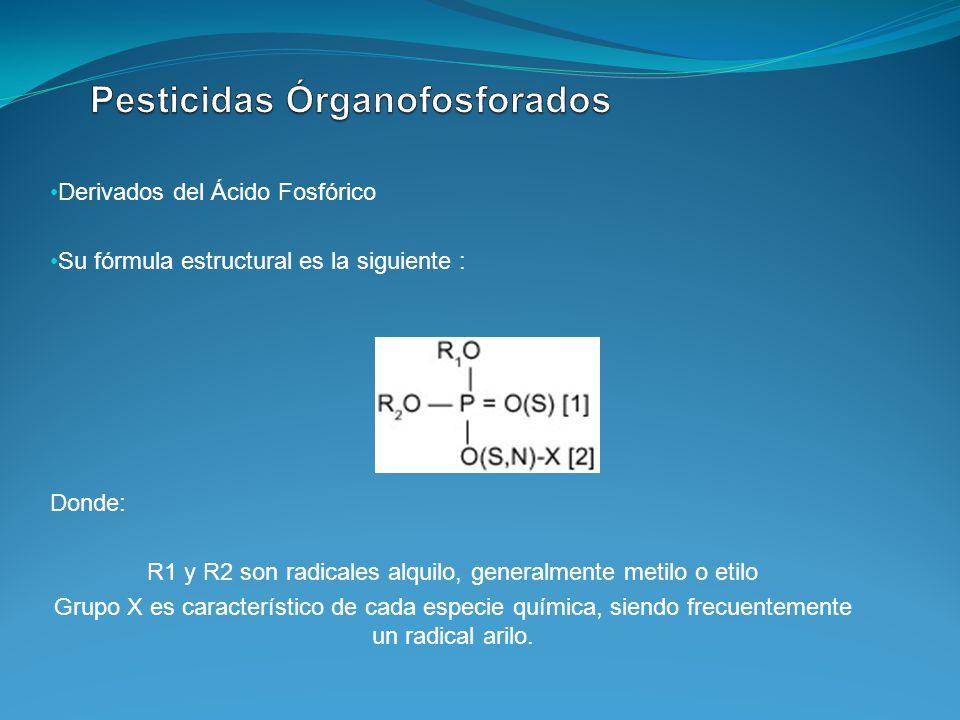 Derivados del Ácido Fosfórico Su fórmula estructural es la siguiente : Donde: R1 y R2 son radicales alquilo, generalmente metilo o etilo Grupo X es ca