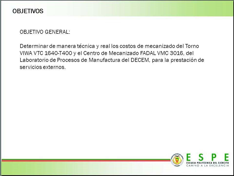 OBJETIVOS OBJETIVO GENERAL: Determinar de manera técnica y real los costos de mecanizado del Torno VIWA VTC 1640-T400 y el Centro de Mecanizado FADAL