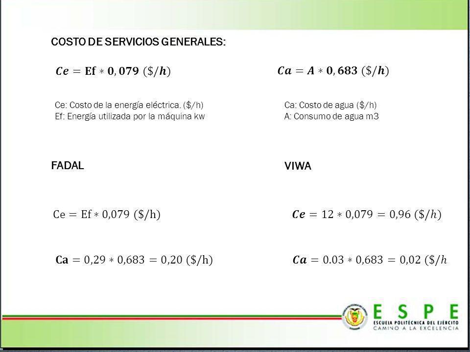 COSTO DE SERVICIOS GENERALES: FADAL VIWA Ce: Costo de la energía eléctrica. ($/h) Ef: Energía utilizada por la máquina kw Ca: Costo de agua ($/h) A: C