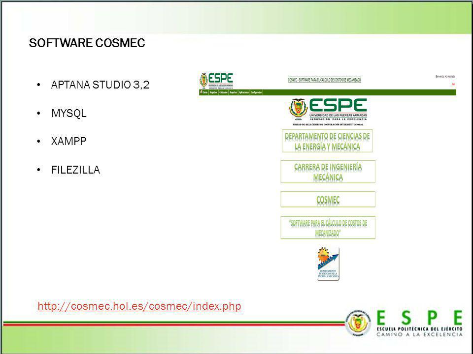 SOFTWARE COSMEC APTANA STUDIO 3,2 MYSQL XAMPP FILEZILLA http://cosmec.hol.es/cosmec/index.php