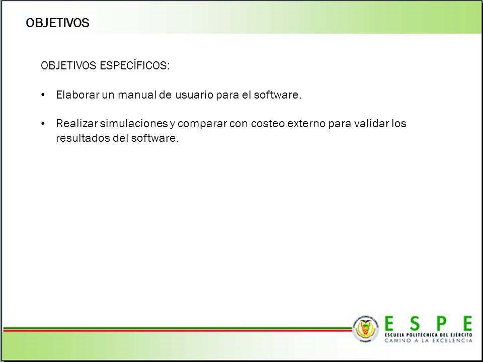 OBJETIVOS OBJETIVOS ESPECÍFICOS: Elaborar un manual de usuario para el software. Realizar simulaciones y comparar con costeo externo para validar los
