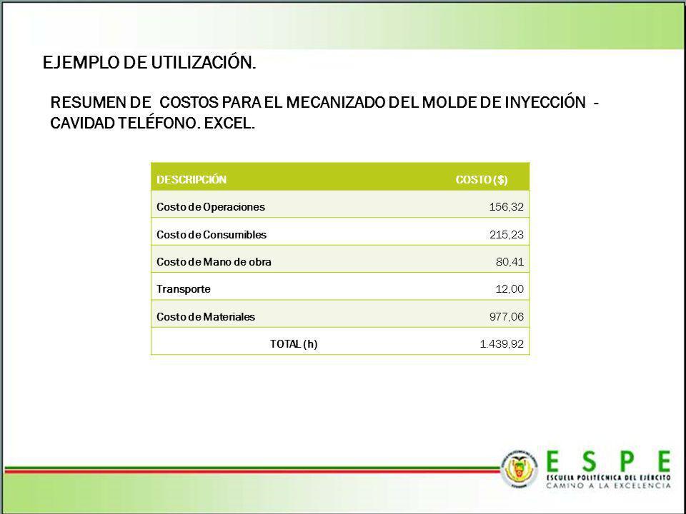 EJEMPLO DE UTILIZACIÓN. RESUMEN DE COSTOS PARA EL MECANIZADO DEL MOLDE DE INYECCIÓN - CAVIDAD TELÉFONO. EXCEL. DESCRIPCIÓNCOSTO ($) Costo de Operacion