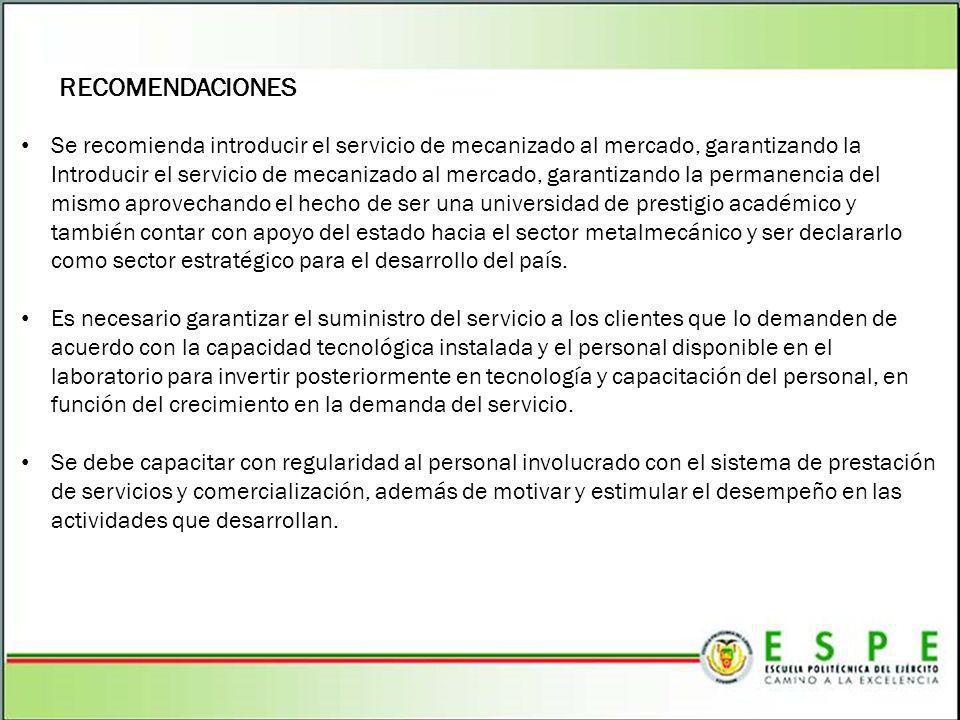 RECOMENDACIONES Se recomienda introducir el servicio de mecanizado al mercado, garantizando la Introducir el servicio de mecanizado al mercado, garant