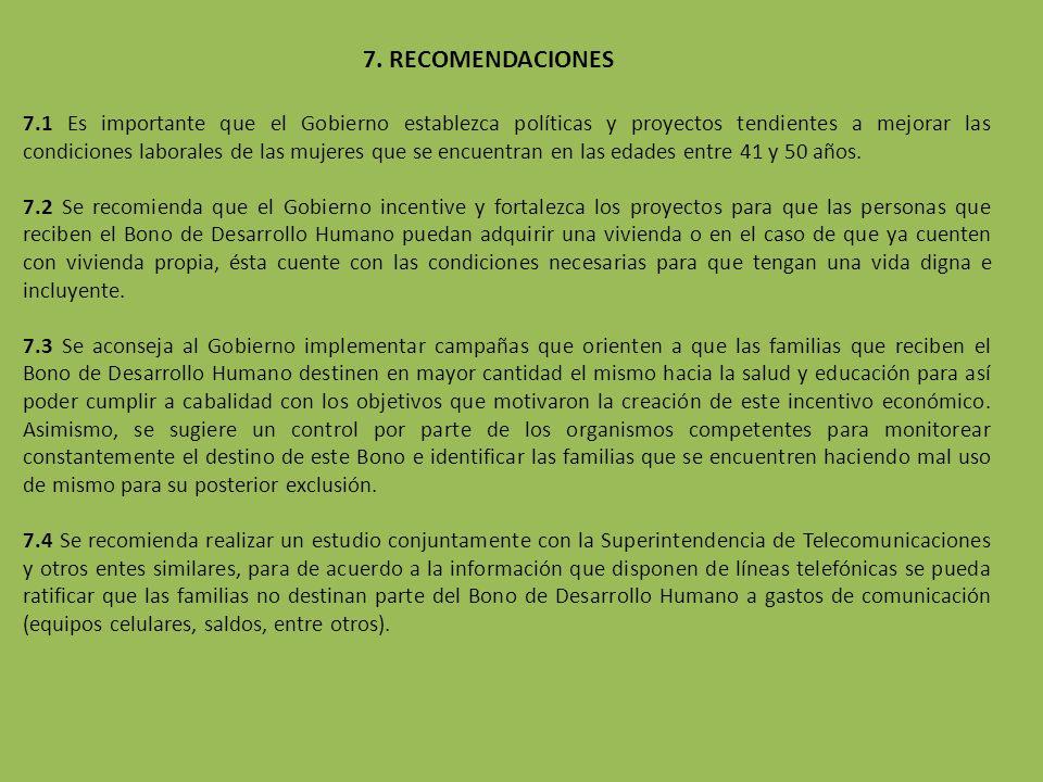 7. RECOMENDACIONES 7.1 Es importante que el Gobierno establezca políticas y proyectos tendientes a mejorar las condiciones laborales de las mujeres qu
