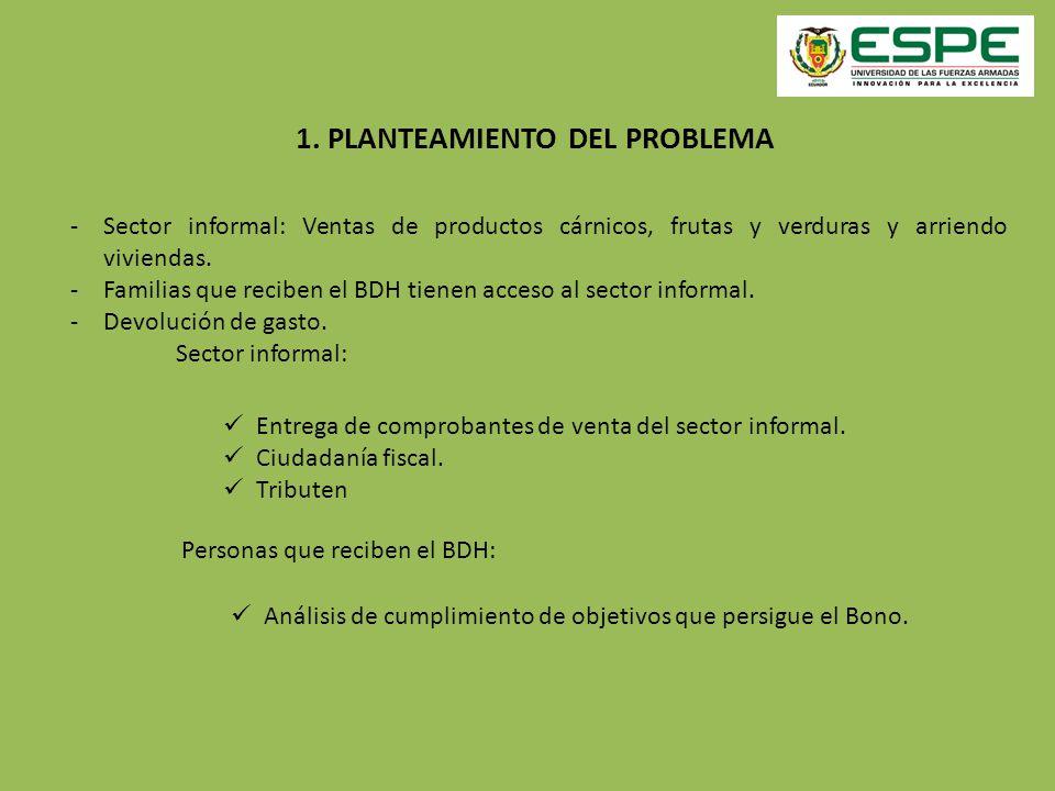 1. PLANTEAMIENTO DEL PROBLEMA -Sector informal: Ventas de productos cárnicos, frutas y verduras y arriendo viviendas. -Familias que reciben el BDH tie