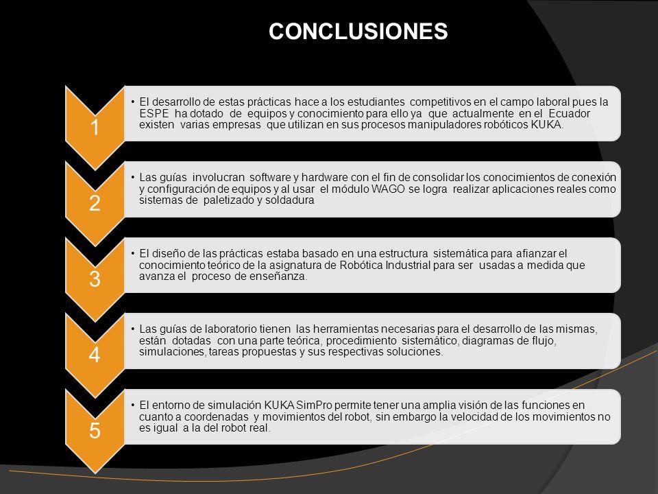 CONCLUSIONES 1 El desarrollo de estas prácticas hace a los estudiantes competitivos en el campo laboral pues la ESPE ha dotado de equipos y conocimiento para ello ya que actualmente en el Ecuador existen varias empresas que utilizan en sus procesos manipuladores robóticos KUKA.