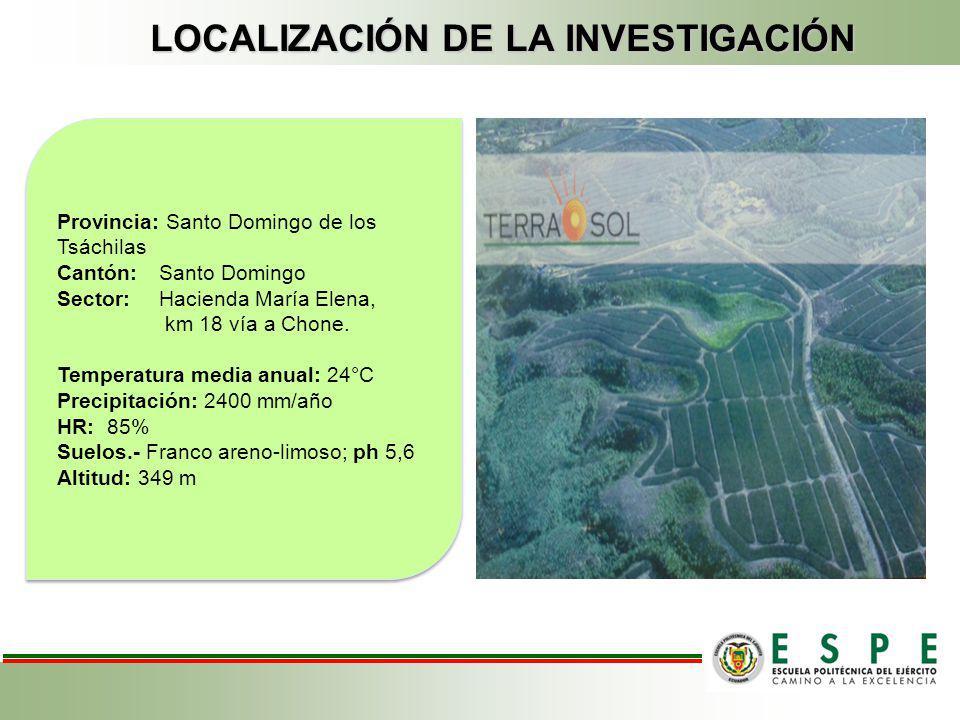 LOCALIZACIÓN DE LA INVESTIGACIÓN Provincia: Santo Domingo de los Tsáchilas Cantón: Santo Domingo Sector: Hacienda María Elena, km 18 vía a Chone. Temp
