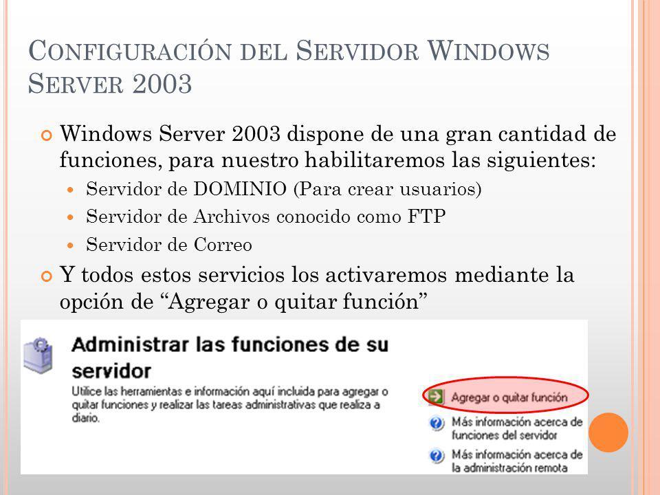 C ONFIGURACIÓN DEL S ERVIDOR W INDOWS S ERVER 2003 Windows Server 2003 dispone de una gran cantidad de funciones, para nuestro habilitaremos las sigui