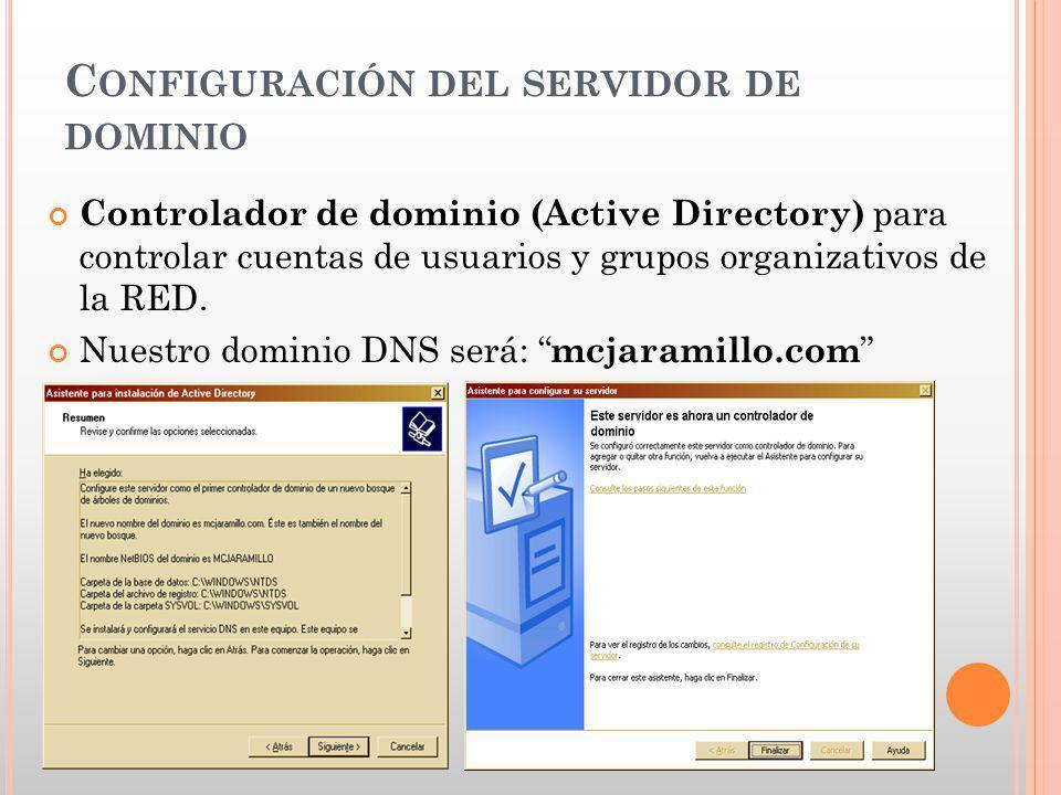 C ONFIGURACIÓN DEL SERVIDOR DE DOMINIO Controlador de dominio (Active Directory) para controlar cuentas de usuarios y grupos organizativos de la RED.