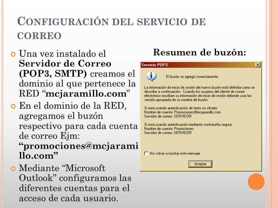C ONFIGURACIÓN DEL SERVICIO DE CORREO Una vez instalado el Servidor de Correo (POP3, SMTP) creamos el dominio al que pertenece la RED mcjaramillo.com