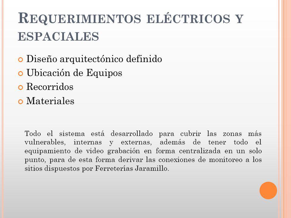R EQUERIMIENTOS ELÉCTRICOS Y ESPACIALES Diseño arquitectónico definido Ubicación de Equipos Recorridos Materiales Todo el sistema está desarrollado pa