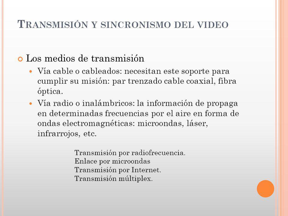 T RANSMISIÓN Y SINCRONISMO DEL VIDEO Los medios de transmisión Vía cable o cableados: necesitan este soporte para cumplir su misión: par trenzado cabl