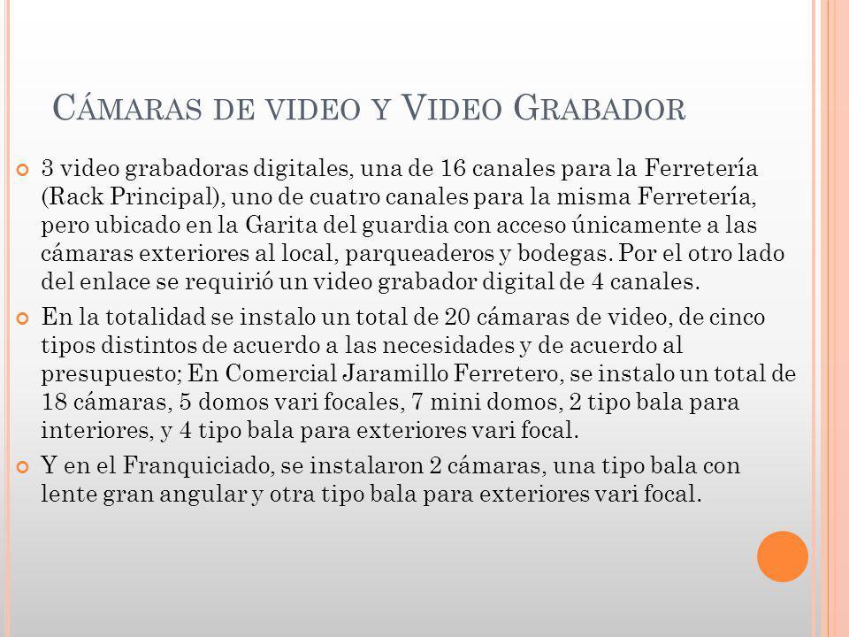 C ÁMARAS DE VIDEO Y V IDEO G RABADOR 3 video grabadoras digitales, una de 16 canales para la Ferretería (Rack Principal), uno de cuatro canales para l