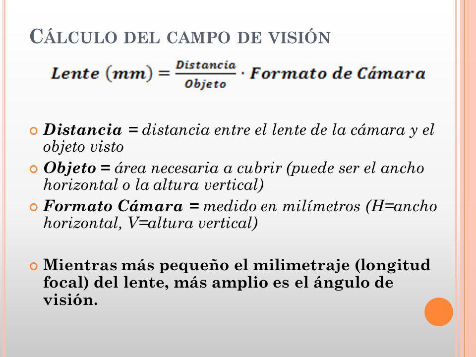 C ÁLCULO DEL CAMPO DE VISIÓN Distancia = distancia entre el lente de la cámara y el objeto visto Objeto = área necesaria a cubrir (puede ser el ancho