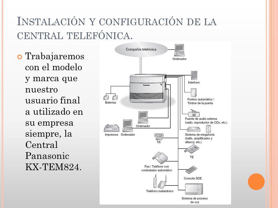 Trabajaremos con el modelo y marca que nuestro usuario final a utilizado en su empresa siempre, la Central Panasonic KX-TEM824.