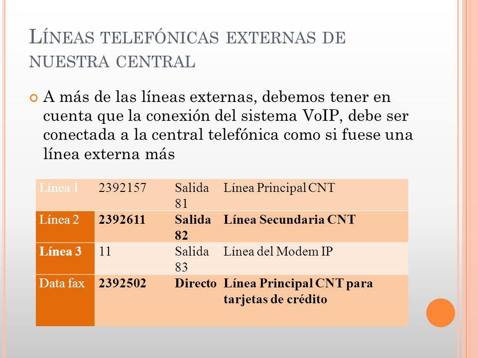 L ÍNEAS TELEFÓNICAS EXTERNAS DE NUESTRA CENTRAL A más de las líneas externas, debemos tener en cuenta que la conexión del sistema VoIP, debe ser conec