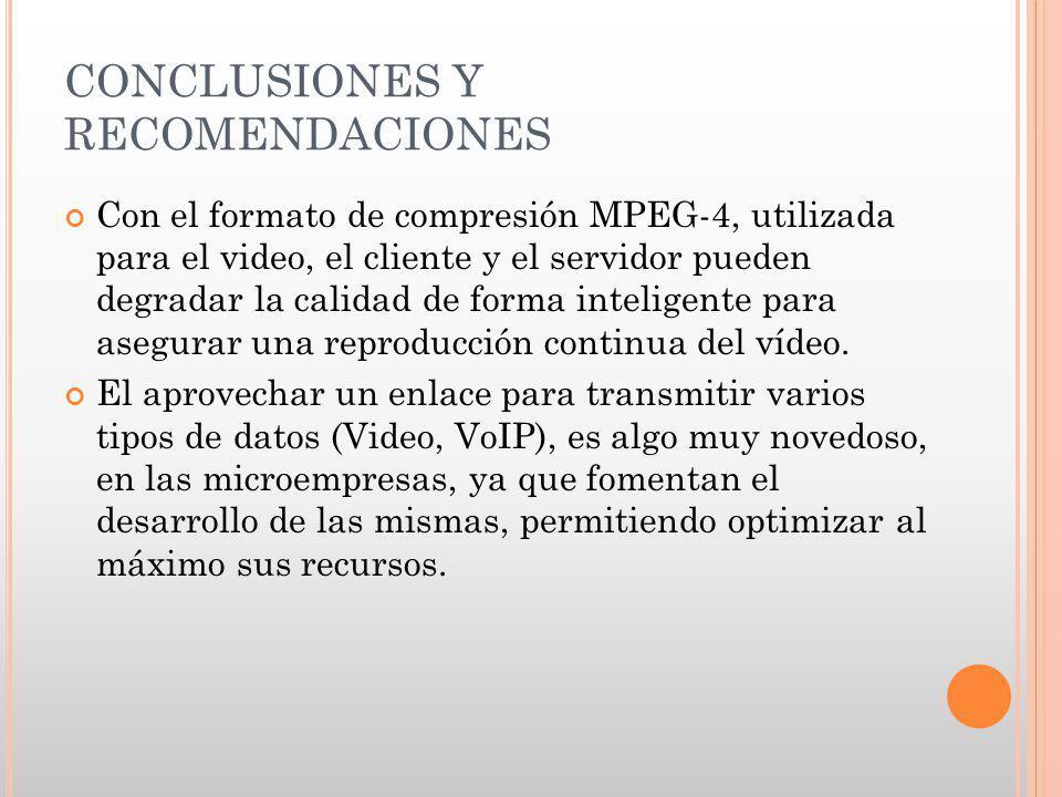 CONCLUSIONES Y RECOMENDACIONES Con el formato de compresión MPEG-4, utilizada para el video, el cliente y el servidor pueden degradar la calidad de fo