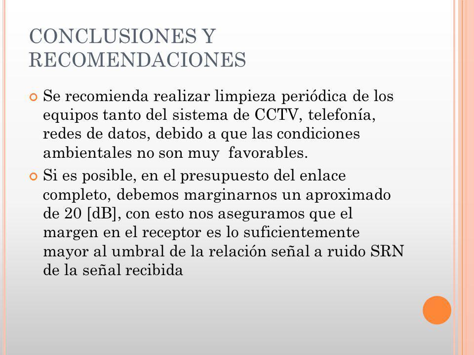 CONCLUSIONES Y RECOMENDACIONES Se recomienda realizar limpieza periódica de los equipos tanto del sistema de CCTV, telefonía, redes de datos, debido a